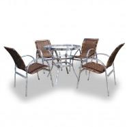 Imagem - Conjunto de Fibra Sintética Londres 4 Cadeiras + 1 Mesa cód: MKP000771000102