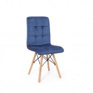Imagem - Cadeira Eiffel Gomos Veludo Estofada Base Madeira Azul Marinho cód: MKP000777000095