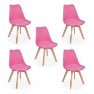 Imagem - Conjunto 05 Cadeiras Eames Wood Leda Design Rosa cód: MKP000777001494