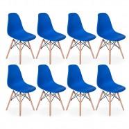 Imagem - Conjunto 8 Cadeiras Charles Eames Eiffel Wood Base Madeira Azul cód: MKP000777001657