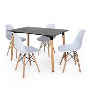 Imagem - Kit Mesa Eiffel 120x80 Preta 4 Cadeiras Charles Eames Branca cód: MKP000777001845