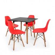 Imagem - Kit Mesa Eiffel 80x80 Preta 4 Cadeira Charles Eames Vermelha cód: MKP000777001876