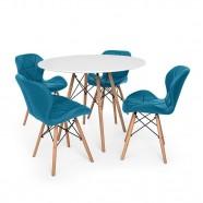 Imagem - Kit Mesa Jantar Eiffel 80cm Branca 04 Cadeiras Slim Turquesa cód: MKP000777001966