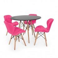 Imagem - Kit Mesa Jantar Eiffel 90cm Preta + 04 Cadeiras Slim Rosa cód: MKP000777001988
