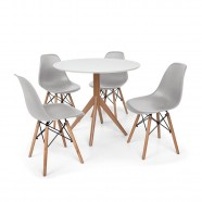 Imagem - Mesa De Jantar Maitê 80cm Com 4 Cadeiras Charles Eames cód: MKP000777002055