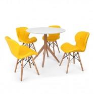 Imagem - Conjunto Mesa De Jantar Maitê 80cm Branca 4 Cadeiras Amarela cód: MKP000777002069