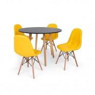 Imagem - Conjunto Mesa Jantar Laura Preta c/4 Cadeiras Botonê Amarela cód: MKP000777003210