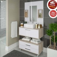 Imagem - Kit Gabinete de Banheiro com Balcão Painel Gabinete Nichos cód: MKP000784000257