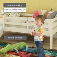 Imagem - Grade De Proteção Ii P/cama Infantil Madeira Maciça Casatema - Branco cód: MKP000800000023