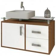 Imagem - Balcão para Banheiro Suspenso com 2 Gavetas e Cuba Evora-mgm Amendoa / Branco cód: MKP001027007840