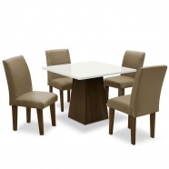 Imagem - Conjunto Mesa de Jantar 4 Cadeiras Castanho Branco Mascavo cód: MKP001027012958