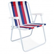 Imagem - Cadeira de Praia Alta Aço Azul Branco Vermelho Mor cód: MKP001300000290