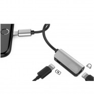 Imagem - Adaptador iPhone 2x1 Lightning Carregador Audio e Microfone cód: MKP001345000047