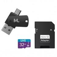 Imagem - Cartão de Memória Multilaser 32Gb Sd Usb Otg com Adaptador cód: MKP001345000264