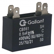 Imagem - Capacitor CBB61 Gallant 0,9MF +-5% 400VAC GCP09S00A-PT400 cód: S20011362001002001