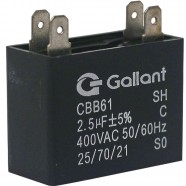 Imagem - Capacitor CBB61 Gallant 2,5MF +-5% 400 VAC GCP25S00A-PT400 cód: S20011362401002001