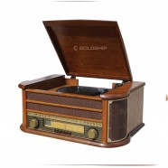 Vitrola Nostalgic Rock Goldship 12w Rms Radio AM/FM- CD Player Aux/USB Bluetooh 4.1v Bivolt