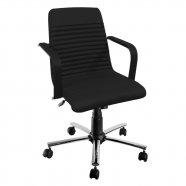 Cadeira Diretor com Braços Base Giratória Cromada - Movelfar