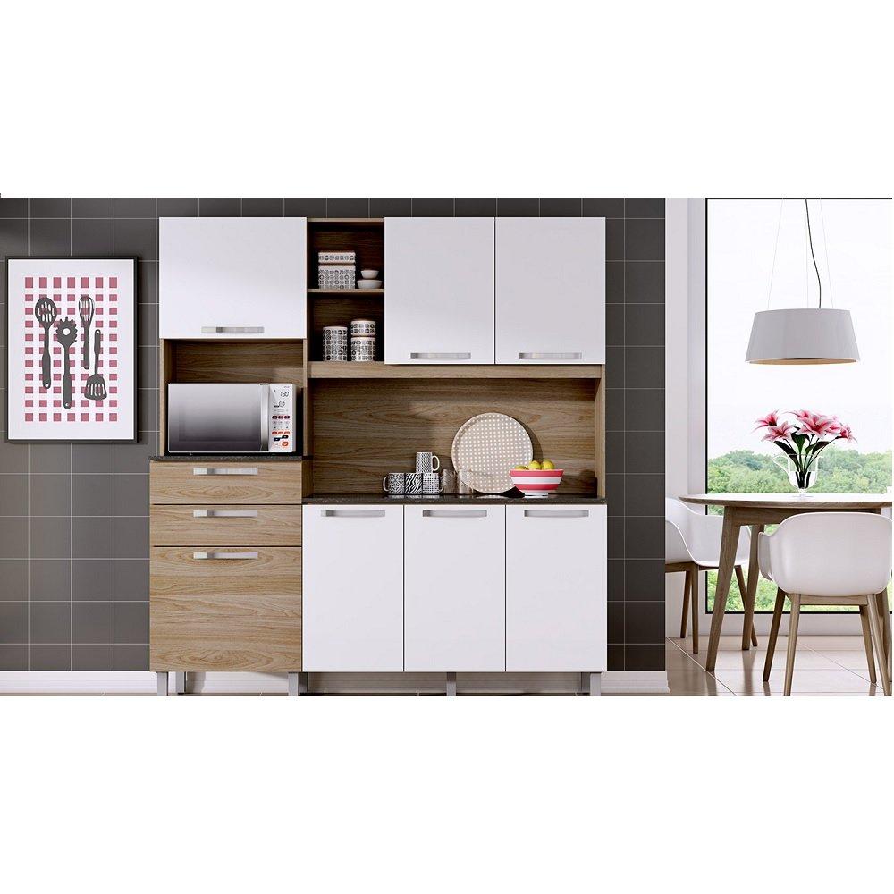 Cozinha Compacta Canela Branco Carvalho Madeira 1 Pe A Com Tampo