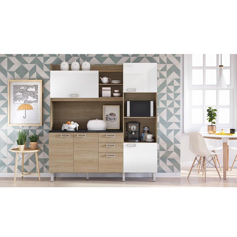 Cozinha Compacta Damasco Branco Carvalho Madeira 1 Pe A Com Tampo