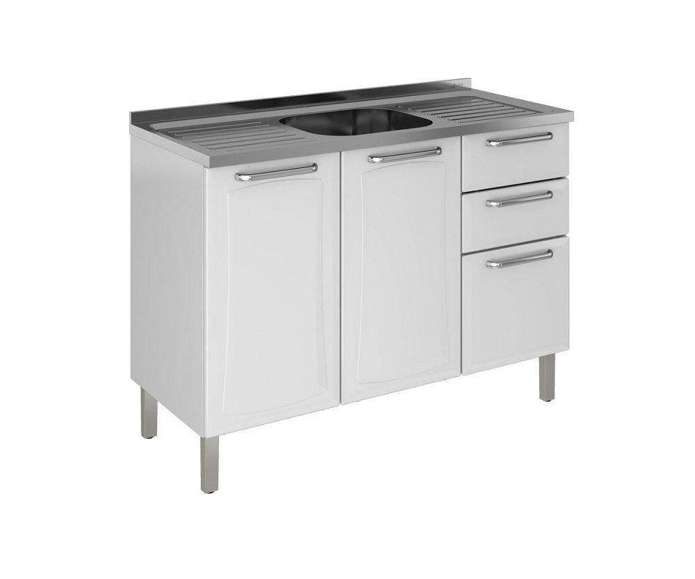 Gabinete De Cozinha Com Pia Inox Tarsila Branco A O 3 Portas E 2
