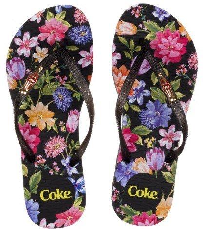 2ed35bf27 Chinelo Coca Cola Estampa Floral Preto | Preto/preto | Coutope
