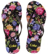 Imagem - Chinelo Coca Cola Estampa Floral Preto cód: 592294
