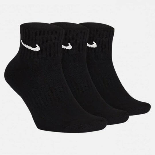 Meia Nike Everyday Cushion Quarter kit 3 Pares Masculina