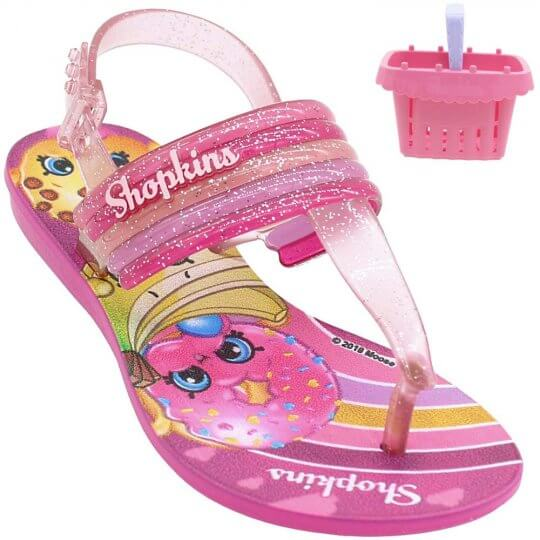 Sandália Infantil Shopkins Colorfull Feminina + Brinde