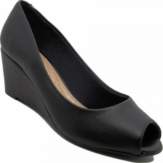 Sapato Peep Toe Beira Rio Turim Anabela Feminino