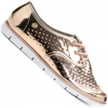 Sapato Moleca Oxford Metalizado Feminino