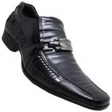 Imagem - Sapato Rafarillo Las Vegas Metalizado Social S/ Cadarço Masculino Ônix
