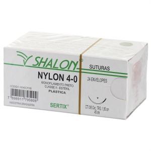 Imagem - FIO SUTURA NYLON 4.0 AGULHA  2.0 -  SHALON ( CX C/24UN)
