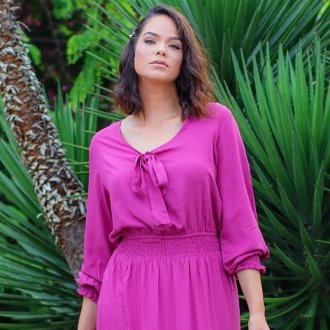 Imagem - Blusa Help Chic Tania cor Morango em Viscolinho