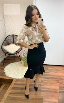 Imagem - Blusa Maria Amore  com Laço na Gola