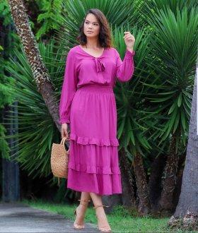 Imagem - Saia Help Chic Heloisa, na cor morango em Viscolinho
