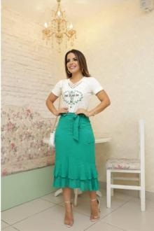 Imagem - Saia Luciana Pais em Viscose Poá com Laço na Cintura e Detalhes na Lapela na cor verde
