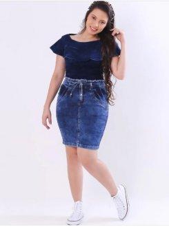 Imagem - Saia Vecchi Jeans Justa Sky Bleach 2162