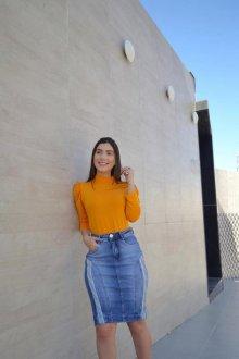 Imagem - Saia Zagut Jeans Com Faixa Na Lateral