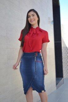 Imagem - Saia Zagut  Jeans Com Recorte E Detalhe Em Vermelho