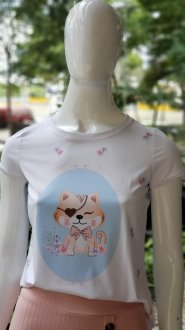 Imagem - T-Shirt Blessing Branca de Gatinho com Detalhe na Manga