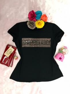 Imagem - T-Shirt Blessing Preta Com Aplicaçao Hear Your Voice