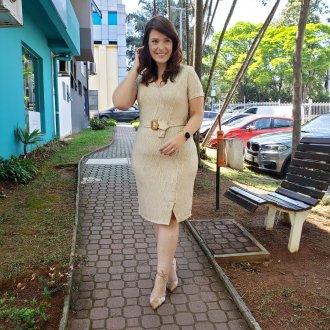 Imagem - Vestido Clamila Bege Listra Marrom Com faixa