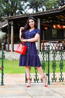 Imagem - Vestido Feminine Ponto Roma Demin Jeans