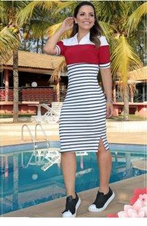 Imagem - Vestido Luciana Pais Polo com Recortes Vermelho e Branco