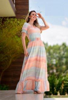 Imagem - Vestido Maria Amore Longo com Barrado Diana