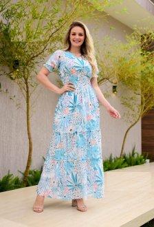 Imagem - Vestido Maria Amore Longo com Lastex Rayca