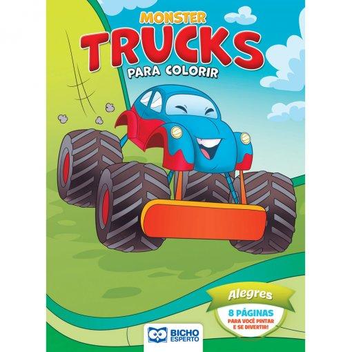 Livro Para Colorir Monster Trucks - Alegres