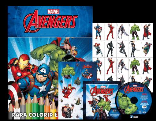 Kit 5 em 1 com DVD Marvel - Vingadores