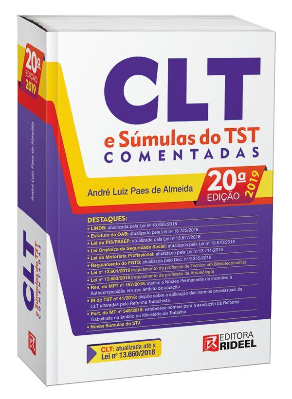Imagem - CLT e Súmulas do TST Comentadas  - André Paes (atualizado conforme o Edital para exame VII)-20ª edição cód: 9788533954007